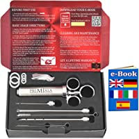 Premiala The Only Meat Injector in 304 Stainless Steel for All Food-Facing Parts +3 needles +4 Spare O-rings +eBook! 60ml 2oz Professional Marinade Flavour Food Syringe Kit for Beef Chicken Turkey!