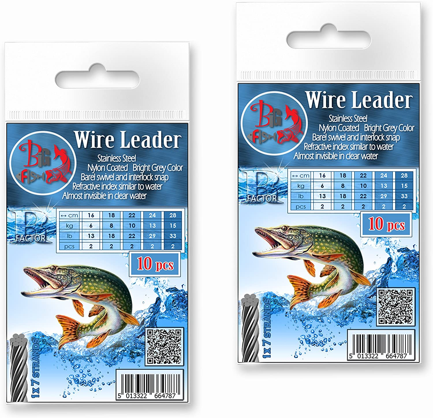Pike Fishing Wire Traces R-Factor 10pcs Grey Soft Lure Jig Heads Predator