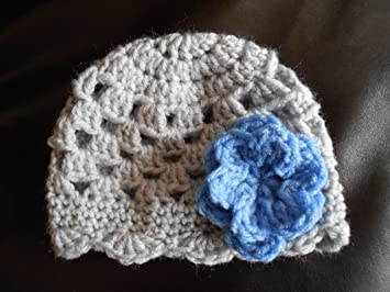 fa92e2ec850dd Gray Crochet Beanie with Blue Flower - 3-6 Month Size Child   Baby Hat