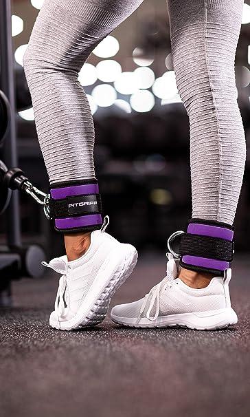 Fitgriff® Tobillera para Polea (Acolchado)- 2 Piezas Correas Tobillos Gym Cable Maquinas, Gimnasio, Fitness - Mujeres y Hombres