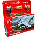 Airfix 1:72 Harrier GR9 Scale Military Aircraft Gift Set including Paint, Glue and Brushes