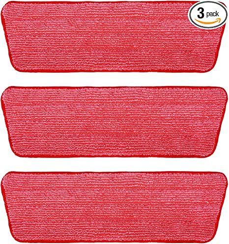 Washable Microfiber Mop Head 3 Pack Red Professional Home//Office Cleaning Supplies - Microfiber Replacement Mop Pads 16 x 5.5 Inches for Cleaning of Wet or Dry Floors
