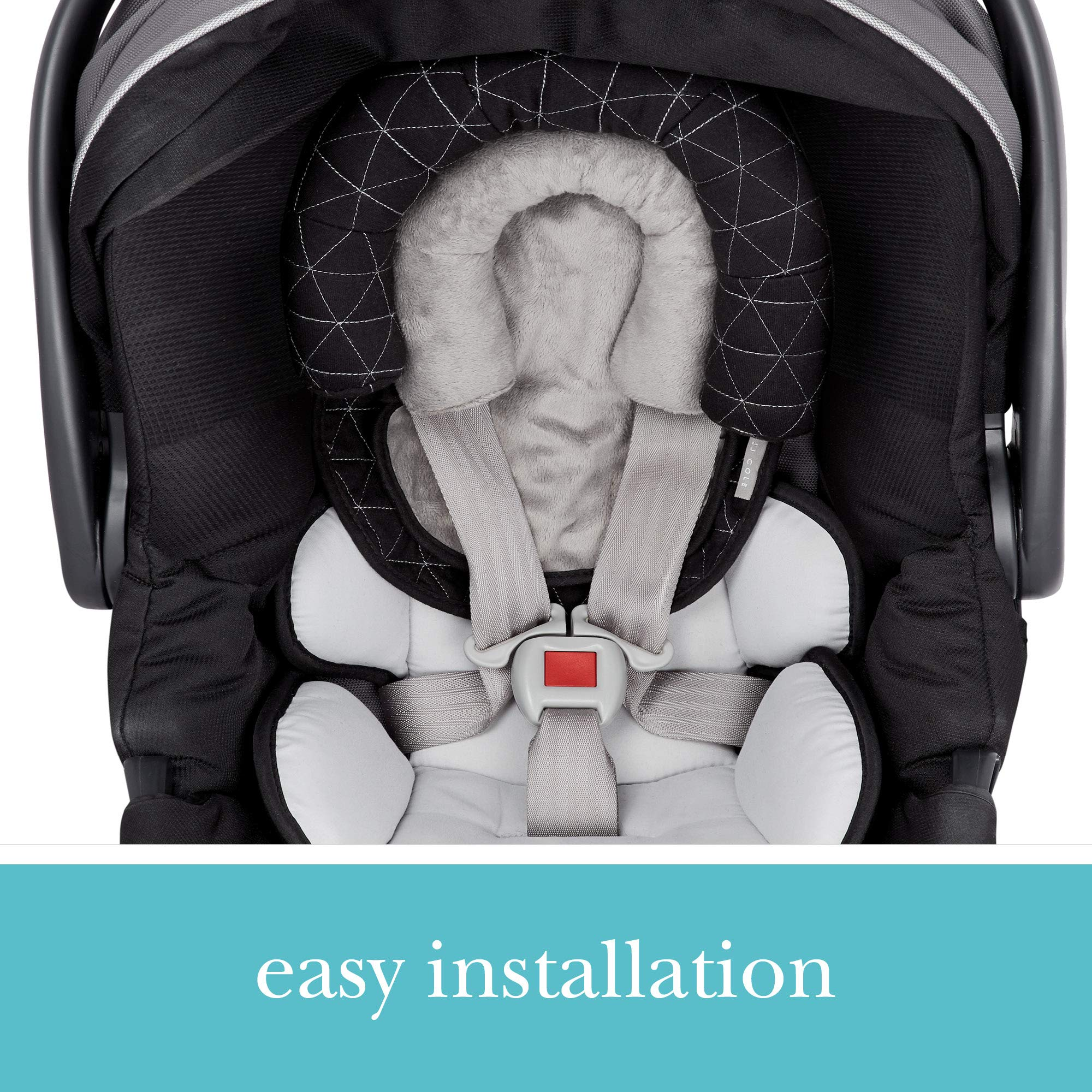 JJ Cole - Head Support, Newborn Head and Neck Support for Car Seat and Stroller, Designed to Adjust with Age, Black Tri Stitch, Birth and Up by JJ Cole (Image #3)