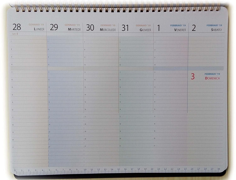tipome.com Planning settimanale da tavolo 32x25cm - Blocco con spirale metallica (con date 19 mesi giu18/dic19)