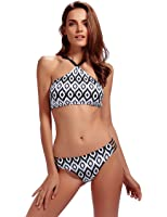 Womens Bikini Swimsuits Halter Padding Two Piece Tankini Bathing Suits Set High Neck