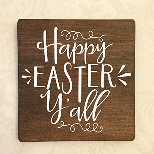 Amazon Happy Easter Yall Rustic Wooden Sign Approx 9X9 Handmade