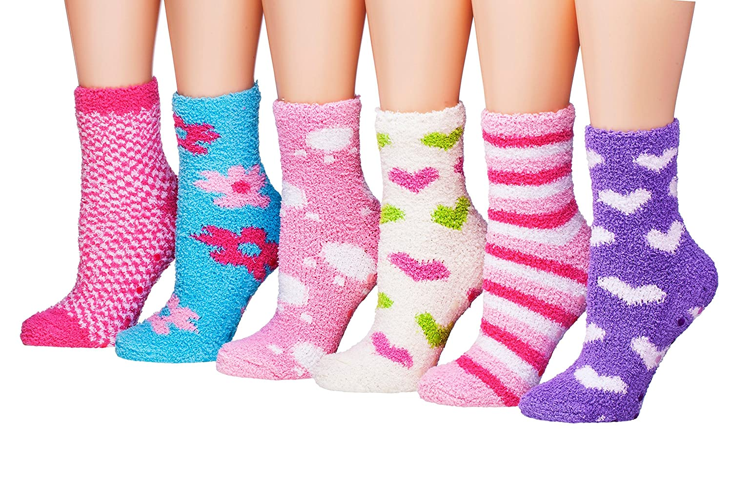 Tipi Toe Womens 6-Pairs Patterned /& Solid Anti-Skid Soft Fuzzy Crew Socks