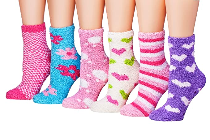 Tipi Toe Women's 6-Pairs Patterned Or Solid Anti-Skid Soft Fuzzy Crew Socks, (sock size 9-11) Fits shoe size 6-9, FZ05-2