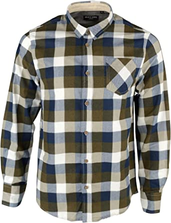 Brave Soul Mens Designer Chambray Checked JackD Long Sleeve Shirt