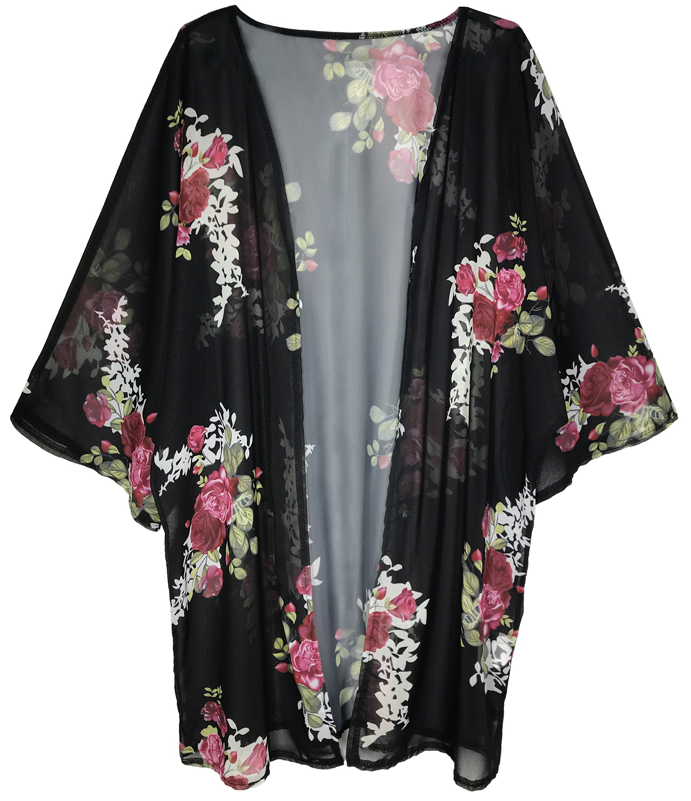 Finoceans Womens Floral Print Kimono Cardigans Loose Beach Cover up Black XL