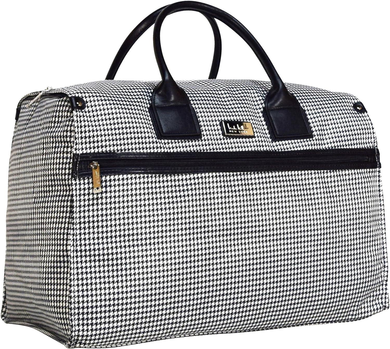 Nicole Miller New York Designer Travel Duffel Handbag Collection – Oversized 22 Inch Carry On for Women – Weekender Overnight Shoulder Tote Box Bag Taylor Black White Plaid