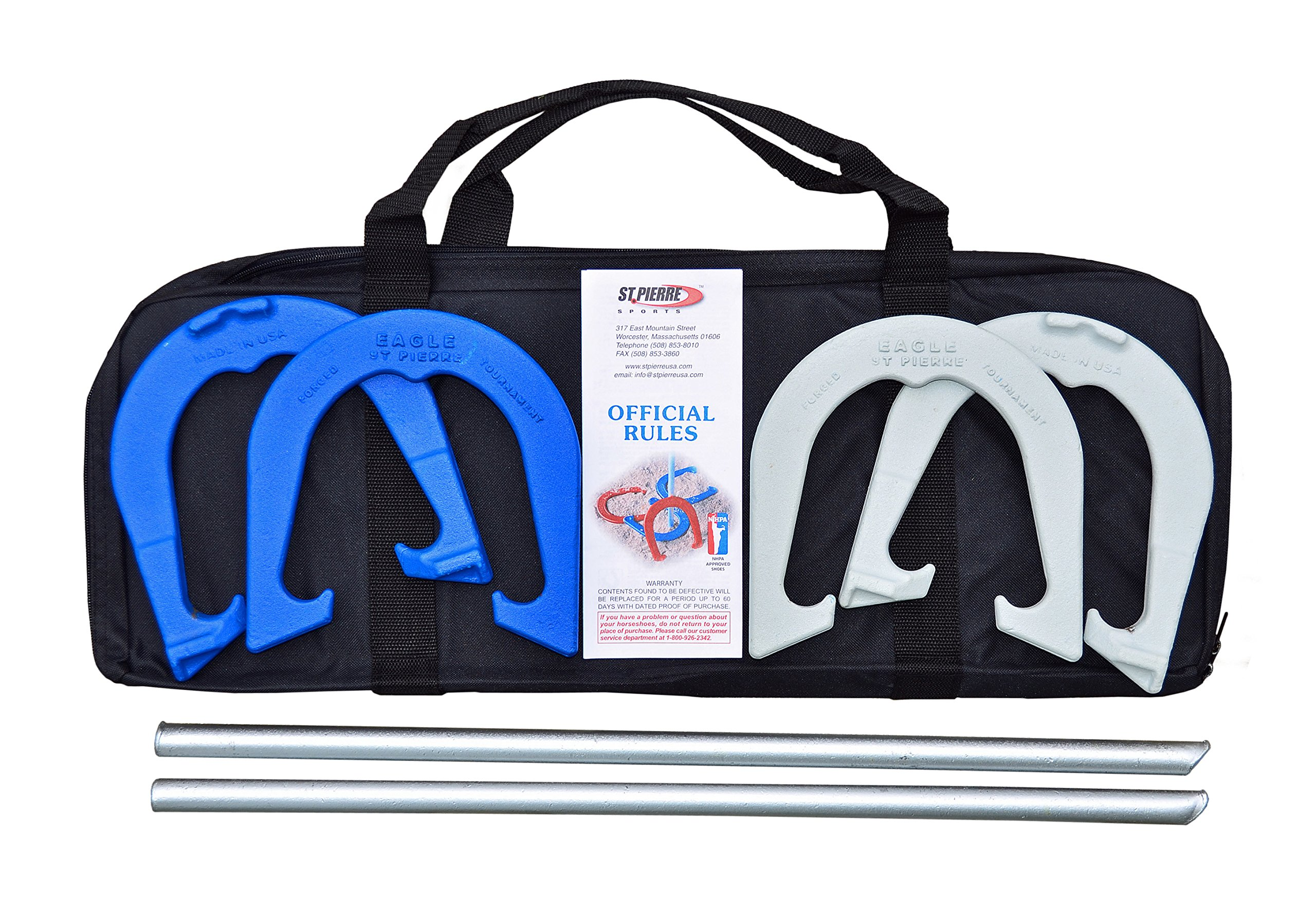 St Pierre Sports Eagle Tournament Horseshoe Outfit in Nylon Bag, Blue/Gray