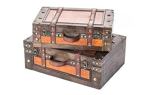 Amazon.com: Juego de 2 de estilo clásico madera decorativos ...