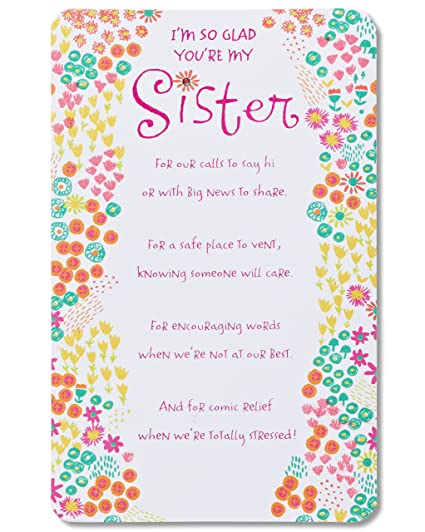 American Greetings Glad Youre My Sister Birthday Card For With Foil Amazonin Office Products
