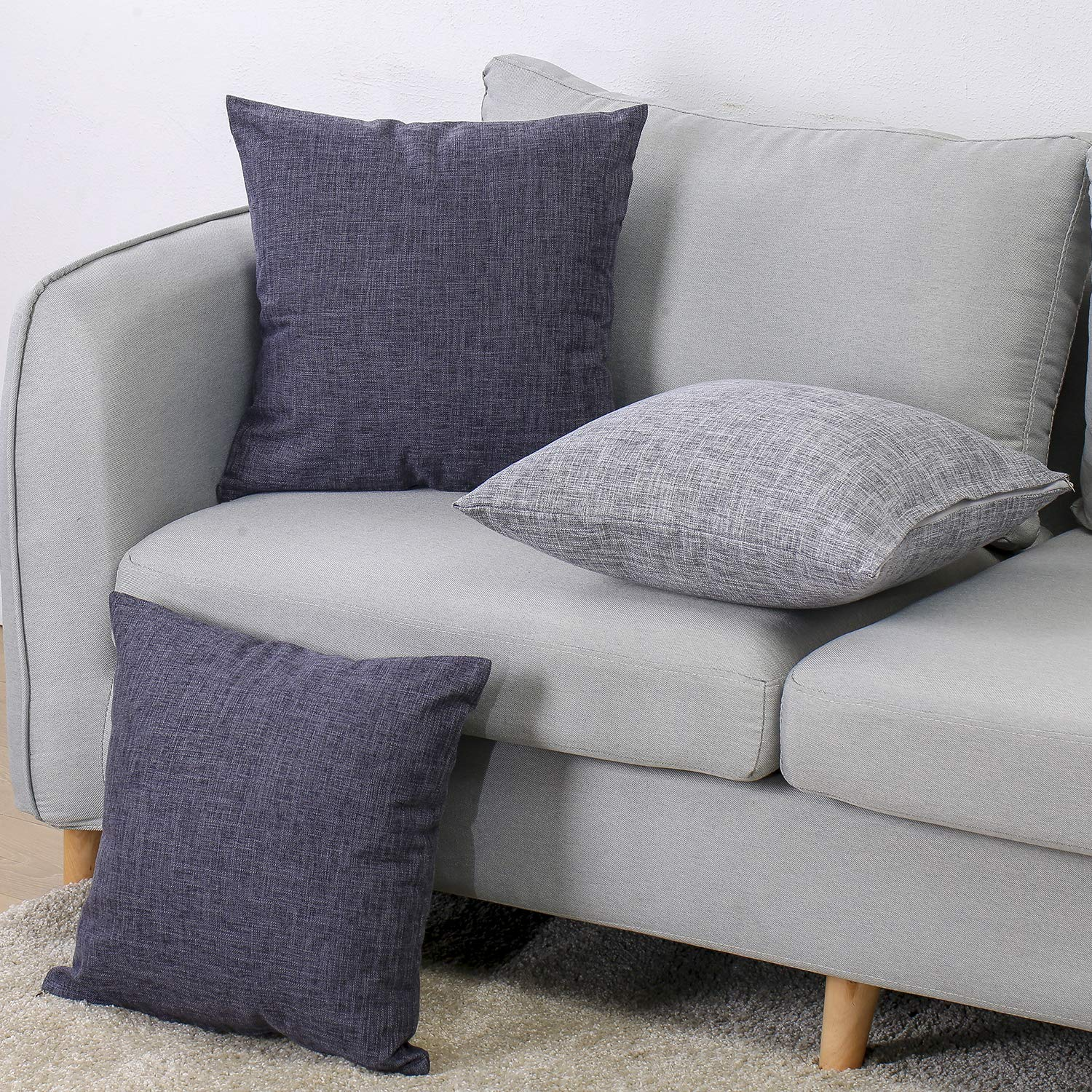 Zishenge-1 Grey Pack of 2 Cushion Cases Faux Linen Look Throw Pillow Cover with Invisible Zipper for Chairs 18 x 18 Inch Silver Sconce No Pillow Insert