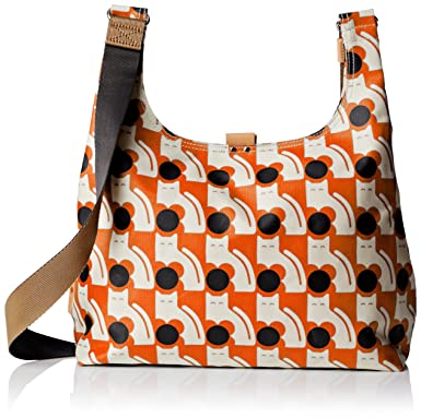 Orla Kiely Poppy Cat Print Midi Sling Bag, Persimmon, One Size ...