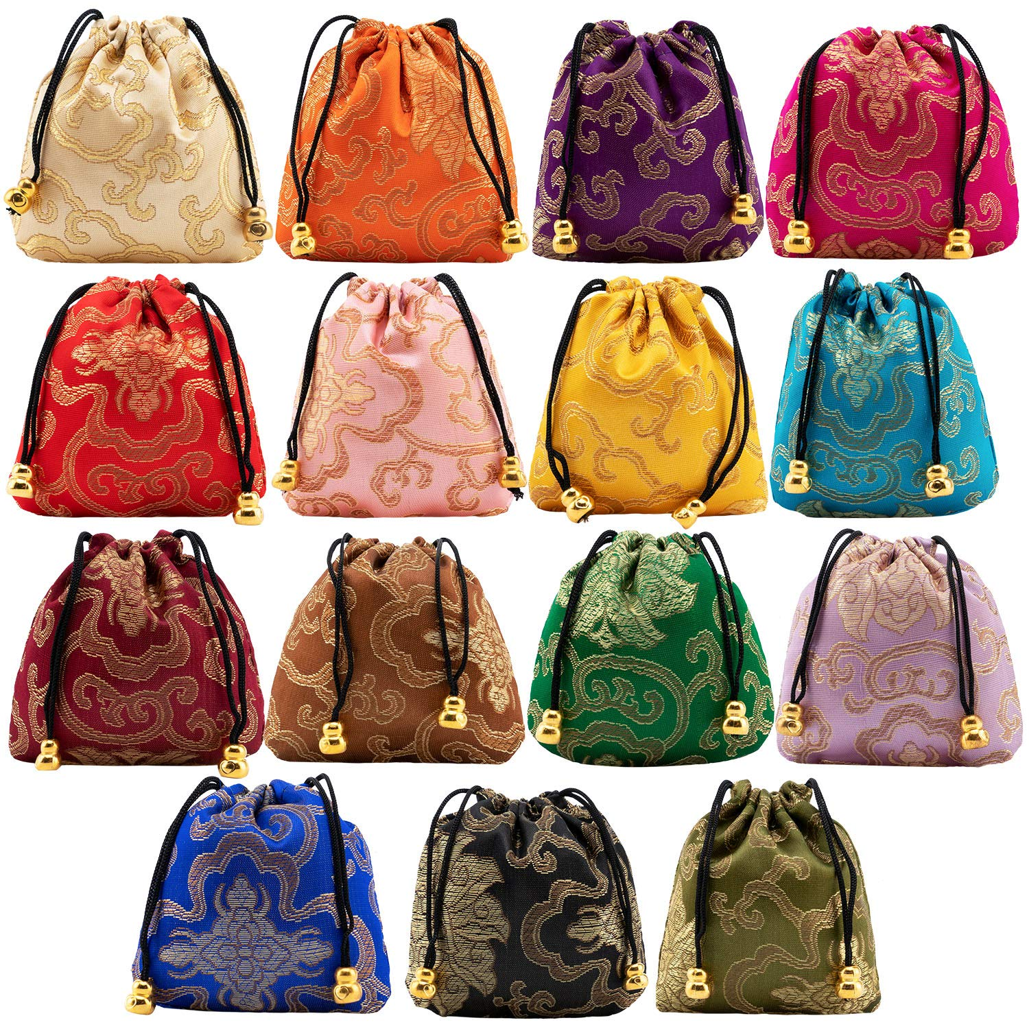 30PCS Silk Brocade Coin Bags Pouches with Drawstring, Jewelry Gift Bag Candy Sachet Pouch Small Chinese Embroidered Organizers Pocket for Women Girls Dice Necklaces Earrings Bracelets, Mix Colors by handrong