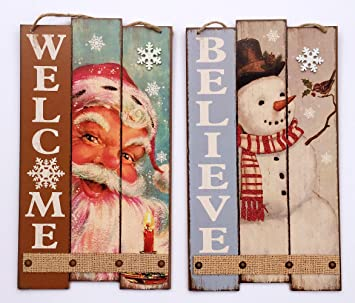 believe christmas signs vintage style santa claus sign snowman door sign 2 wooden - Wooden Christmas Signs