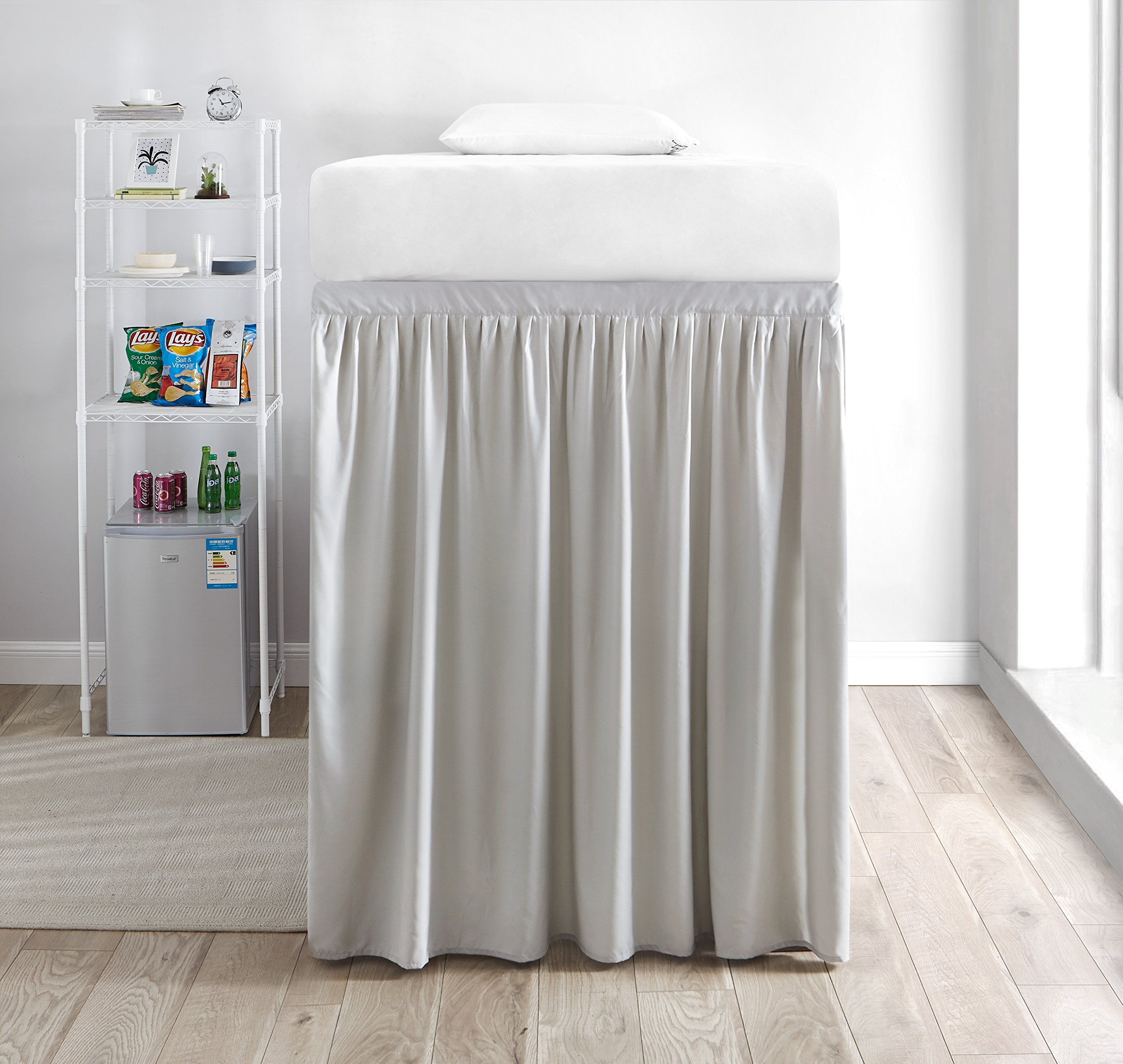 Extended Dorm Sized Bed Skirt Panel with Ties (1 Panel) - Silver Birch (For raised or lofted beds)