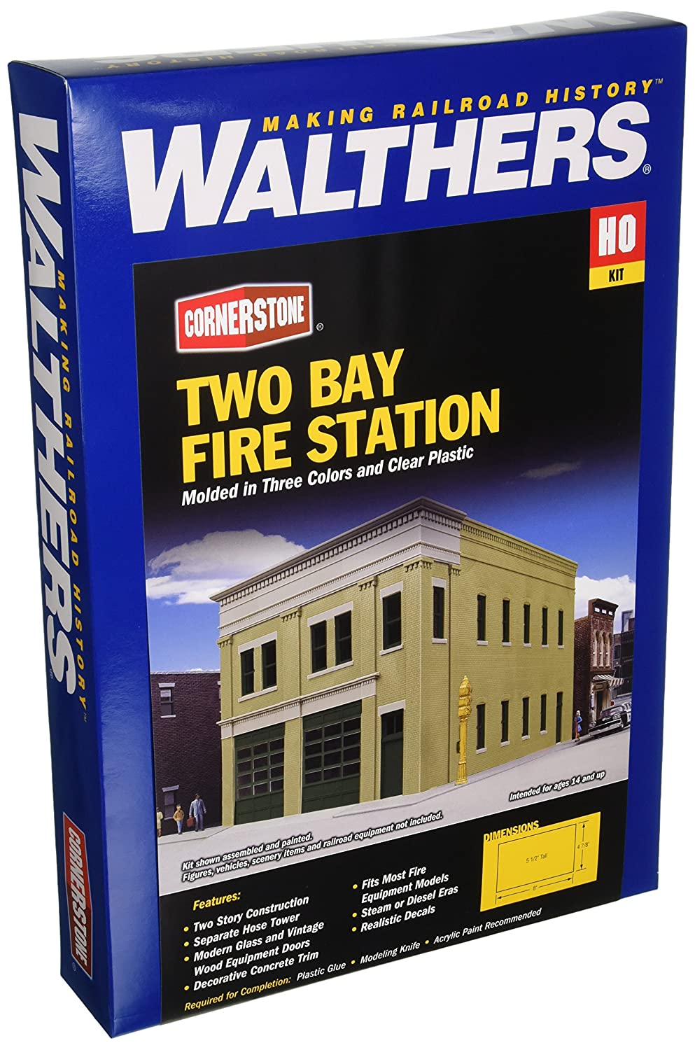 【GINGER掲載商品】 Walthers - 8 Two-Bay HO Fire Station - Kit (Plastic) -- 4-7/8 8 x 4-7/8 x 5-1/2