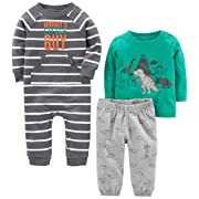 Simple Joys by Carter's Baby Boys' 3-Piece Playwear Set, Turquoise/Gray Dino, 0-3 Months
