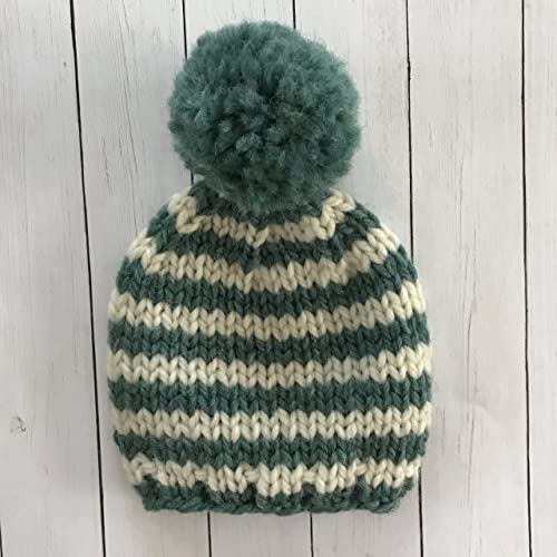 5ced7947ca4 Image Unavailable. Image not available for. Color  Green and White Striped  Newborn Baby Beanie