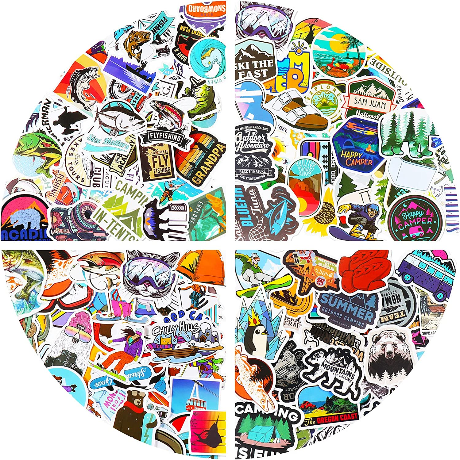 200 Pieces Outdoor Adventure Stickers Wilderness Nature Hiking Camping Travel Waterproof Vinyl Stickers for Laptop Water Bottle Car Luggage Bike Skateboard
