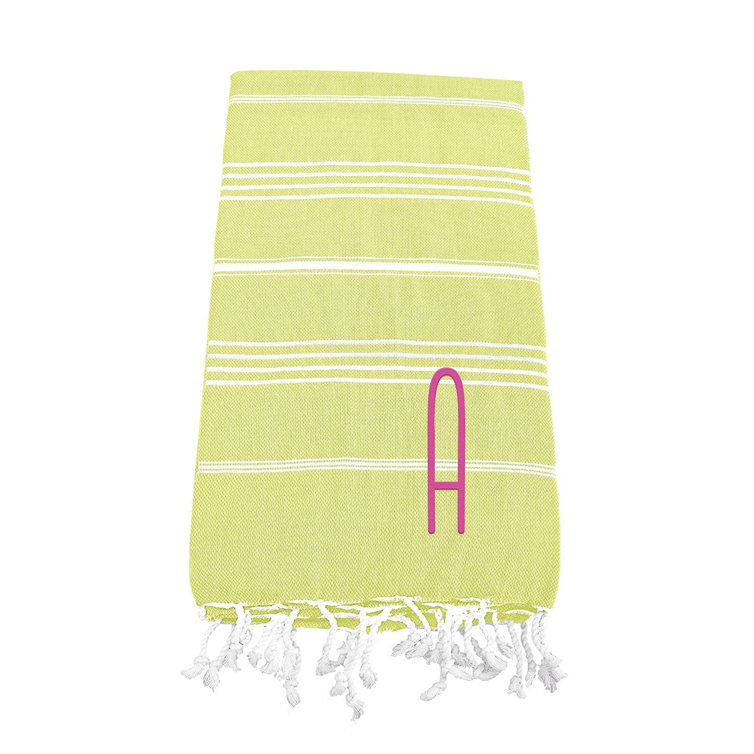 Pistachio Green Letter S Cathys Concepts Personalized Turkish Towel