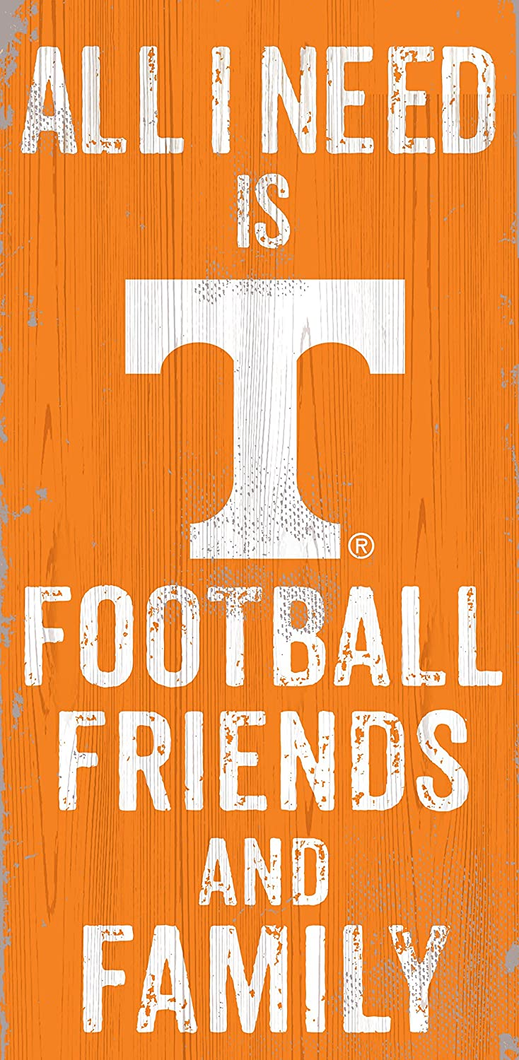 Friends and Family Wood Sign Fan Creations Tennessee Volunteers 12 x 6 All I Need is Football