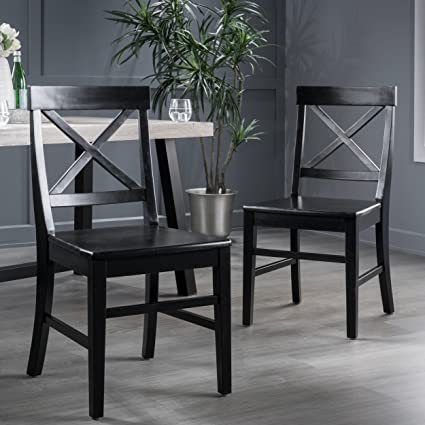 Perfect Truda Farmhouse Black Finish Acacia Wood Dining Chairs