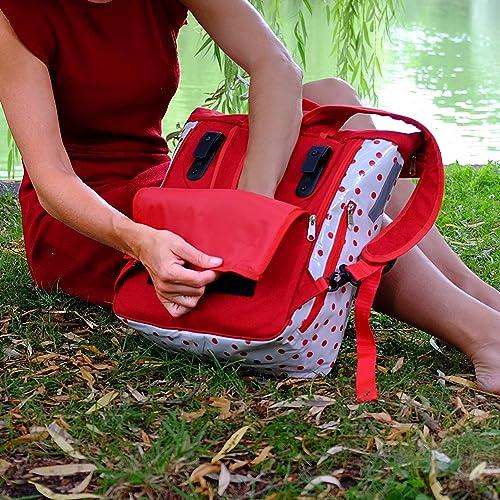 IKURI KOMBI Bicycle Bag Design Lunares red white Backpack Waterproof For Woman Rolltop Bike Bag Pannier Polka Dots