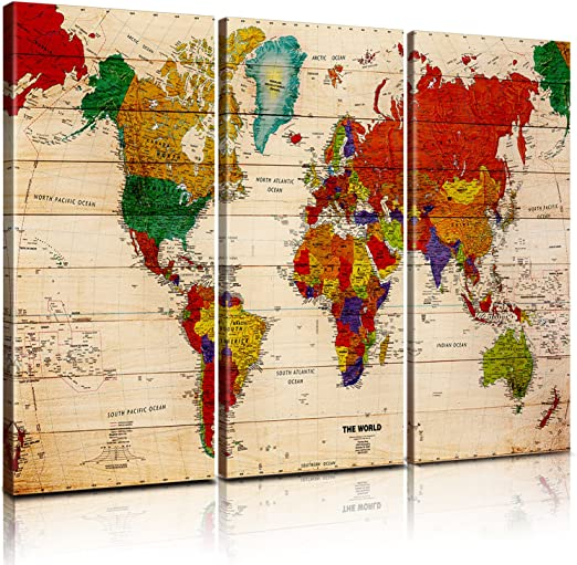 Pixel power color world map artwork canvas wall art xlarge 3 panel on earth map canvas, old world map canvas, map wall art, ikea world map canvas, united states map canvas,