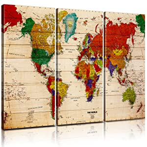 Pixel power color world map artwork canvas wall art xlarge 3 panel premium vintage map of the world posters painting abstract pictures prints global maps with countries names for home decor office
