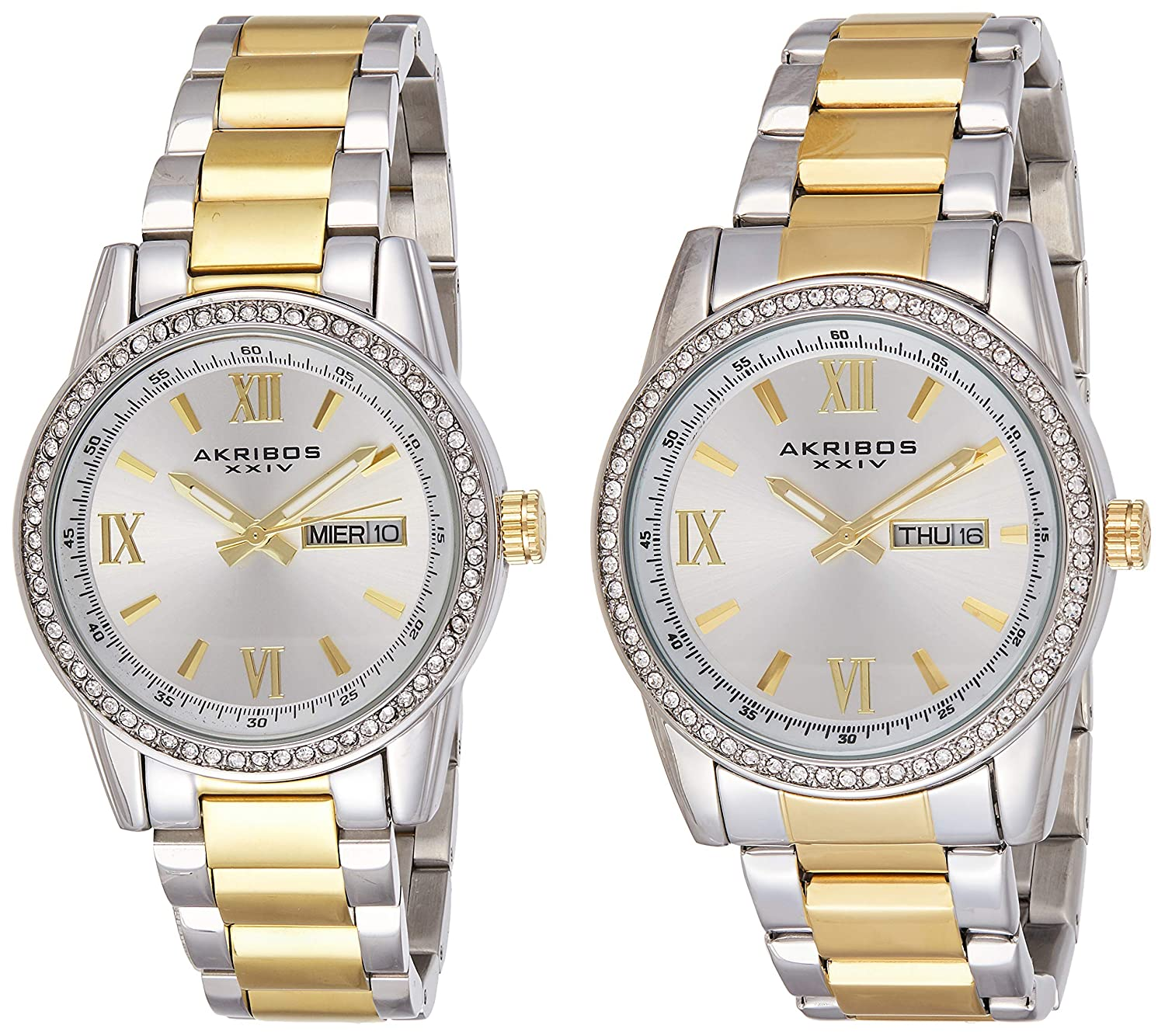 Akribos XXIV Men s and Women s Watch Matching Set – His and Her and Crystal Filled Watch Roman Numerals with Date Window on Stainless Steel Bracelet – AK888