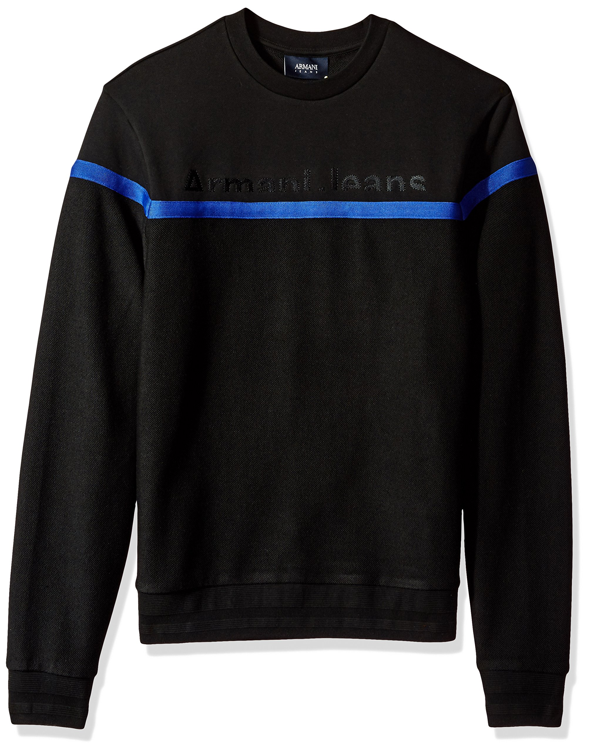 Armani Jeans Men's Plus Size Cotton Fleece Sweatshirt with Stripe Detail and Front Logo, Black, Medium