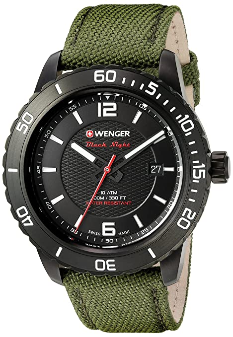 Wenger Roadster Stainless Steel Watch with Silicone Strap Men's Watches at amazon