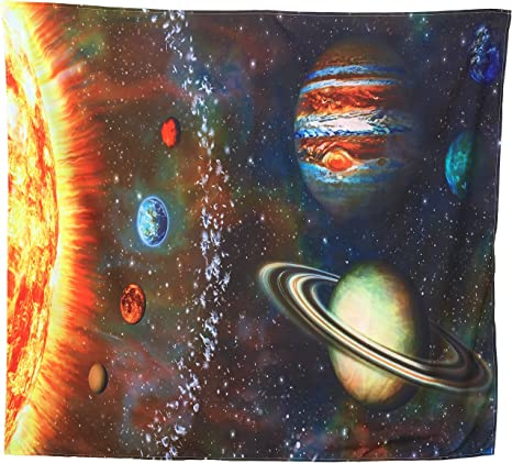 Galaxy Planets Tapestry Wall Hanging Art Solar Print Tapestries Throw Home Decor