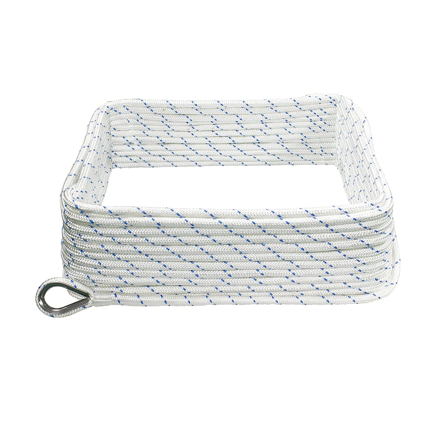 Extreme Max 3006.2505 Boat Tector Double Braid Nylon Anchor Line with Thimble White with Blue Tracer 3//8 x 250