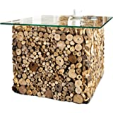 Design teakholz couchtisch driftwood mit glasplatte eckig for Design couchtisch nature lounge teakholz mit runder glasplatte beistelltisch