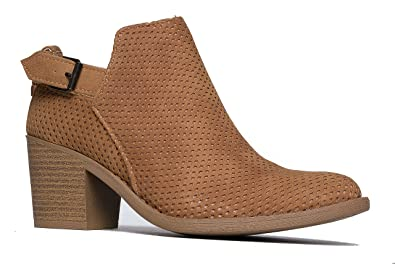 High Heel Buckle Ankle Boot - Slip On Stacked Heel Bootie - Comfortable Perforated Shoe - Theo by