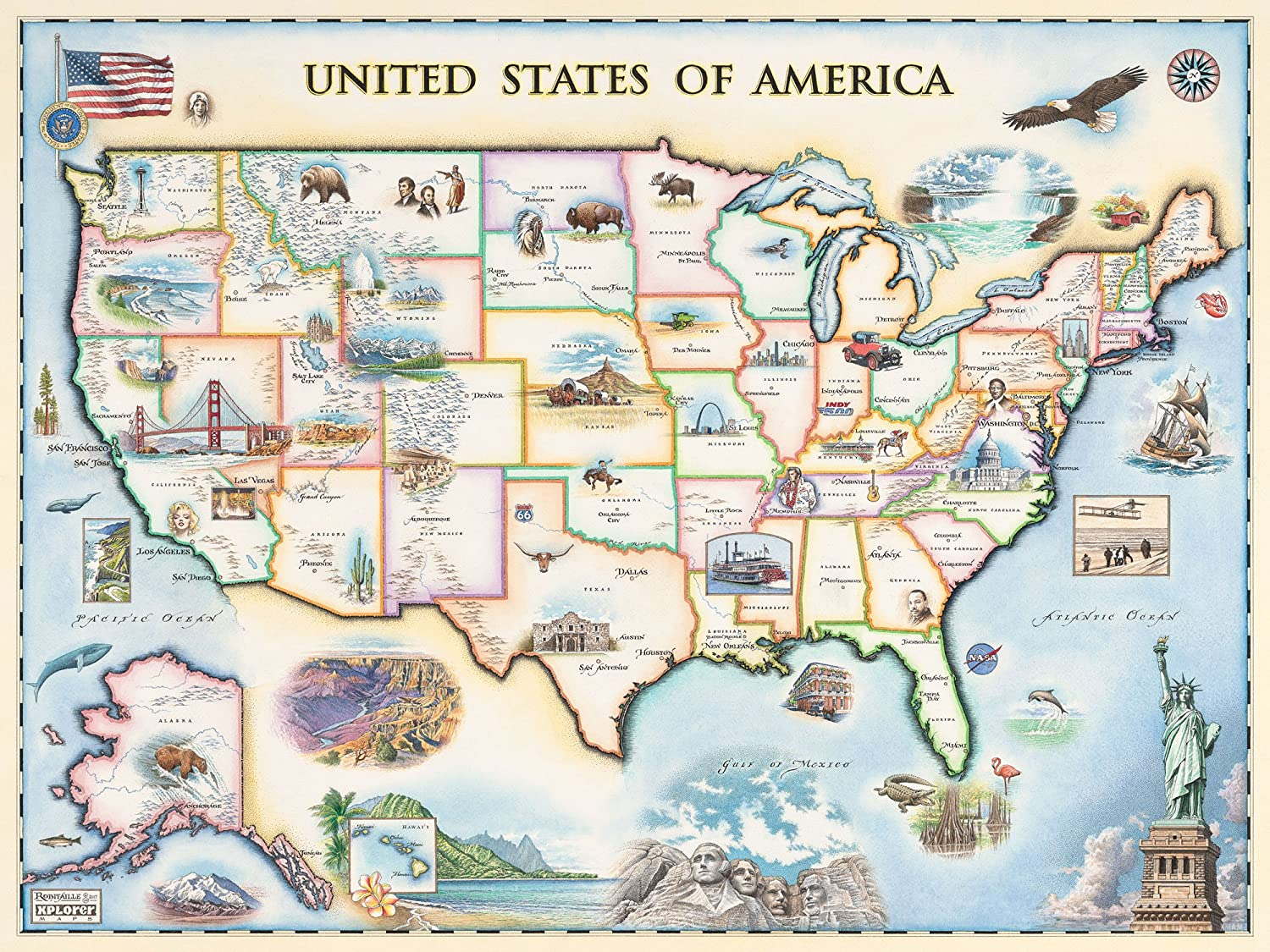 USA Map Wall Art Poster - Authentic Hand Drawn Maps in Old World, Antique  Style - Art Deco Lithographic Print