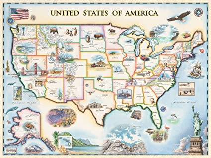 Amazoncom Usa Map Wall Art Poster Authentic Hand Drawn Maps In - Us-map-poster