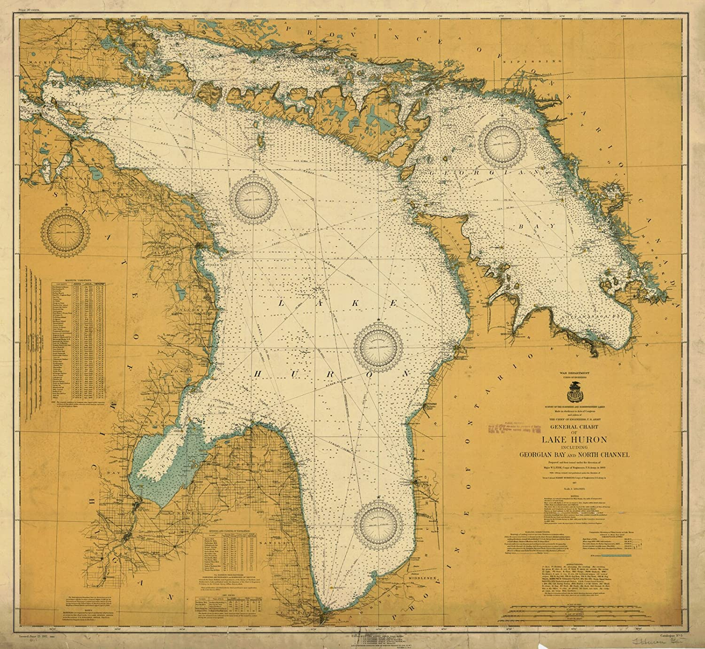 Amazon.com: Map - General Chart Of Lake Huron Including ... on nottawasaga bay, muskoka map, mobile bay map, bay of fundy map, honey harbour map, queen's university map, great lakes map, thunder bay district map, lake huron, lake michigan-huron, windsor map, montreal map, ontario map, wasaga beach map, waterton lakes national park map, georgian bay, ontario, ottawa river map, thunder bay, village at blue map, powassan map, french river, bruce peninsula map, bay of quinte map, quebec city map, lake nipissing, straits of mackinac, bay of islands map, st. john's map,