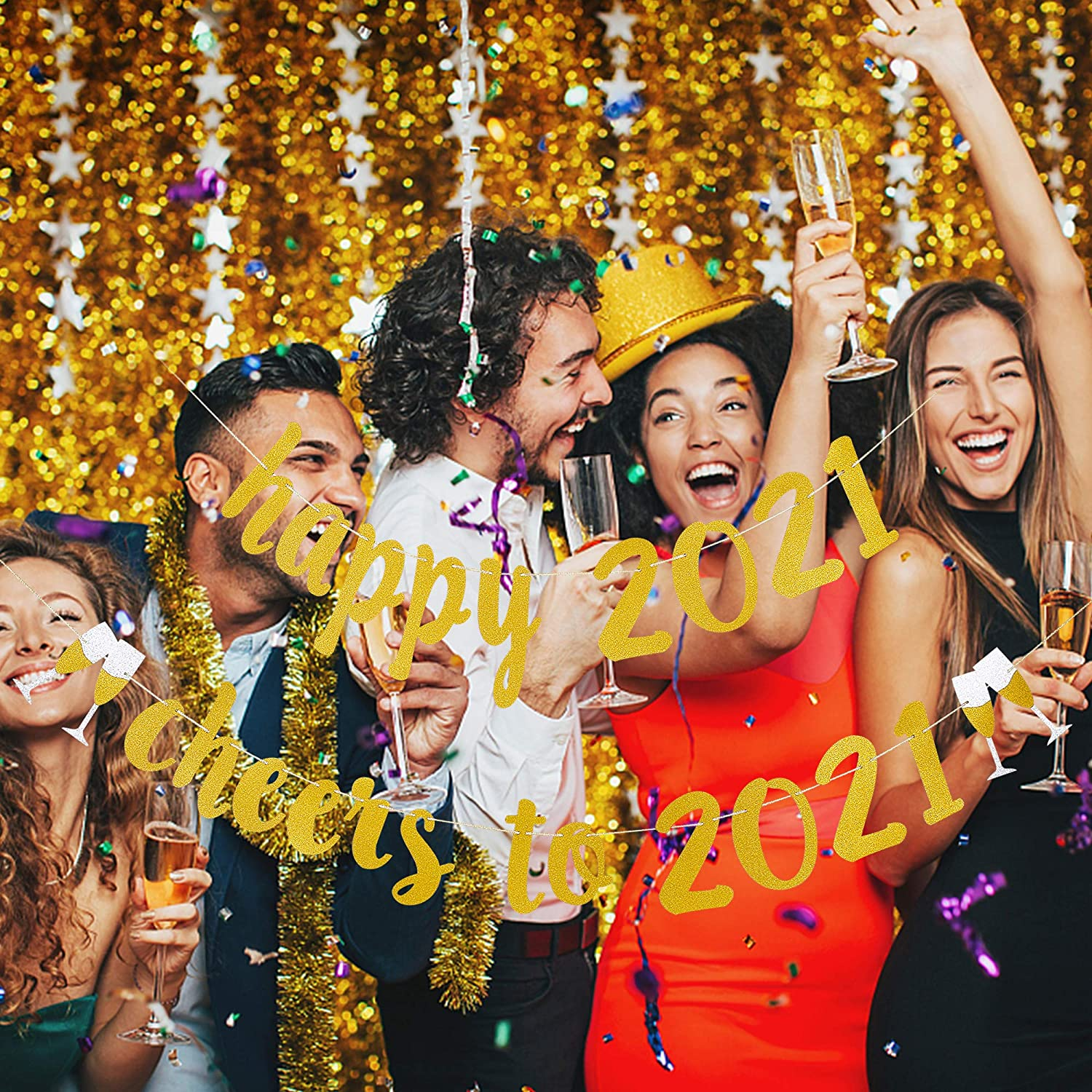 Happy 2021 Cheers To 2021 Gold Glittery Banner New Years Eve Party Supplies 2021 Happy New Year Decorations 2021 New Years Holiday Fireplace Mantle Home Party Decor