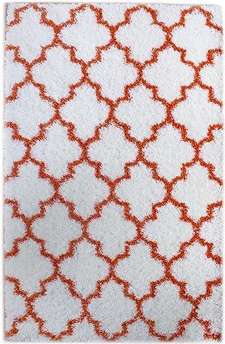 Super Area Rugs Cozy Plush Trellis Shag Rug, 5 x 7 2 , White Orange