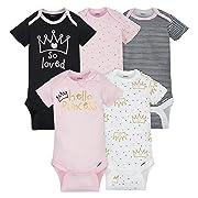 Gerber Baby Girls 5 Pack Onesies, Princess, NB