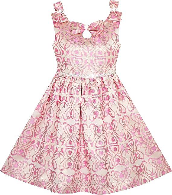 Vestido para niña Perla Ceñido Satén Resplandecer Corbata de moño Pageant Boda Princesa 4 años