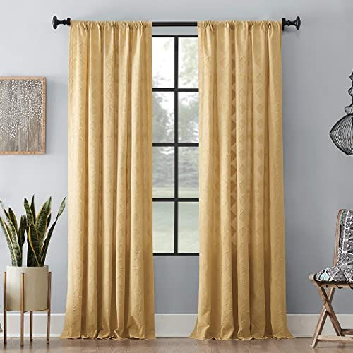 Archaeo Diamond Fray 100 Cotton Curtain, 50 x 84 , Gold