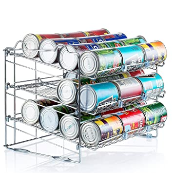 Attractive Chrome Stackable Can Organizer, Can Rack Holds Up To 36 Cans,
