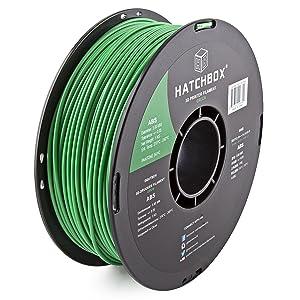 HATCHBOX ABS 3D Printer Filament, Dimensional Accuracy +/- 0.05 mm, 1 kg Spool, 3.00 mm, Green